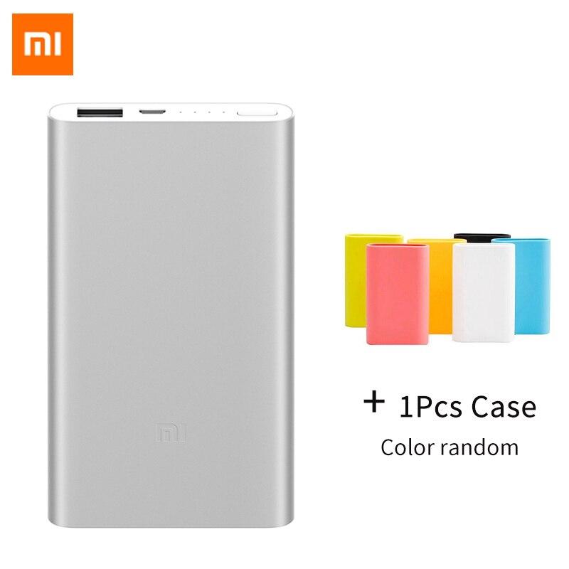 Banco Do Poder Xiaomi Original 5000 mAh Xiomi 2 Carregador Portátil Fino Powerbank 5000 Li-polímero Bateria Externa Com Silicone caso