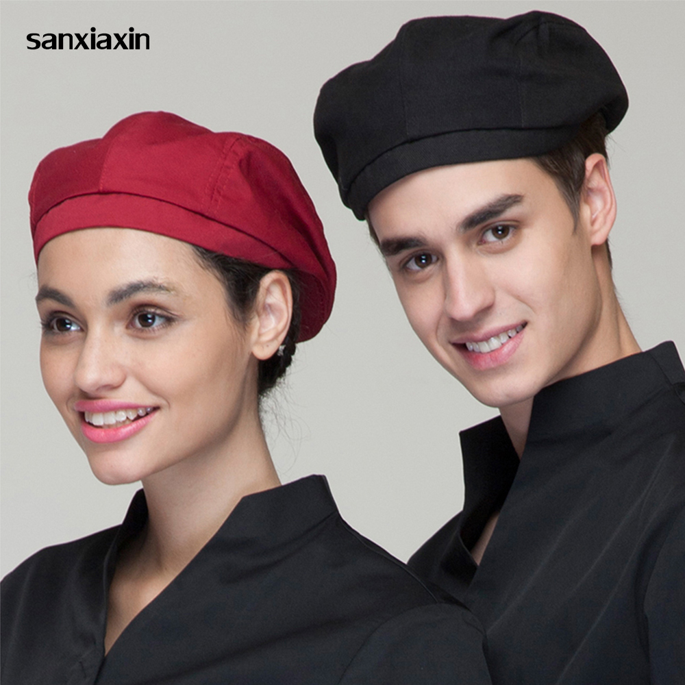 Chef Hats Cafe Bar Waiter Beret Restaurant Kitchen Workwear Baking Caps Men Women Breathable Forward Caps Chef Hats