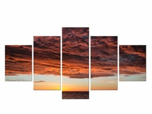 5 Pieces Free Shipping Modular Picture Seascape Sunset Canvas Art Prints Painting Sea Oil Wall Pictures Framed