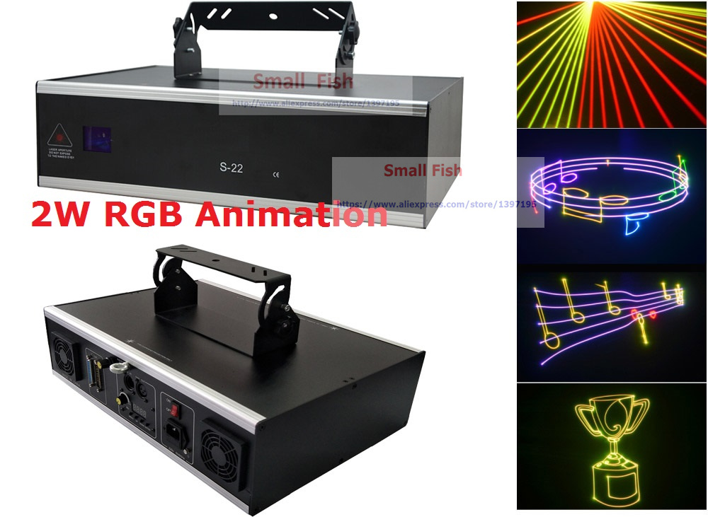 2xLot Free Ship New 2W RGB Full Color Laser Light 2000mW Animation Laser Projector For Christmas Quality Scan Speed 30K system