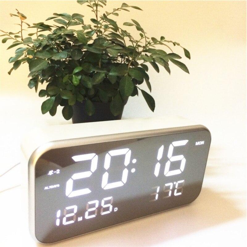 New Big number Led music alarm clocks calendar temperature digital desktop bedroom clock mirror surface xyzTime-8801-music-Clock