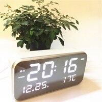 New Big number Led music alarm clocks calendar temperature digital desktop bedroom clock mirror surface xyzTime 8801 music Clock