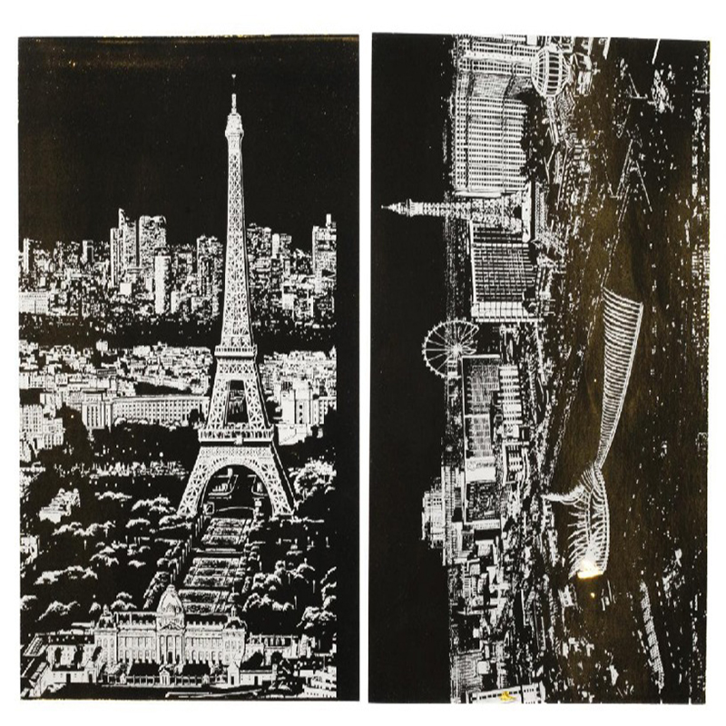 4pcs children city night scraping art painting paper A4 scratch urban night view Paris London drawing