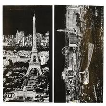4 шт. Детская городская ночь выскабливание художественная роспись бумаги/A4 нуля Городской Ночной вид Париж/London бумага для рисования, Бесплатная доставка