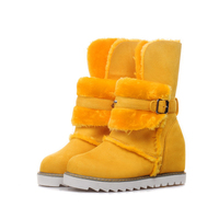 Women Ankle Boots 2017 Thick Plush Winter Shoes Fashion Platform Height Increasing Snow Boots Women Buckle