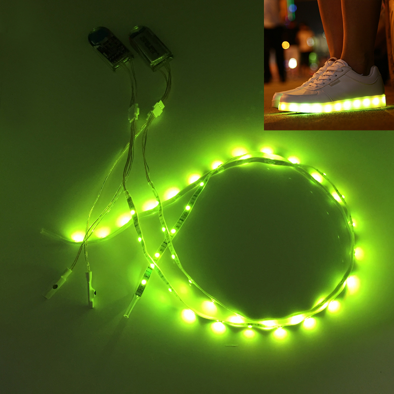 Waterproof led strip light 1pair usb charging rechargeable battery waterproof led strip light 1pair usb charging rechargeable battery powered 3v smd3528 rgb 60cm 24 led tape for diy shoes gift in led strips from lights aloadofball Images