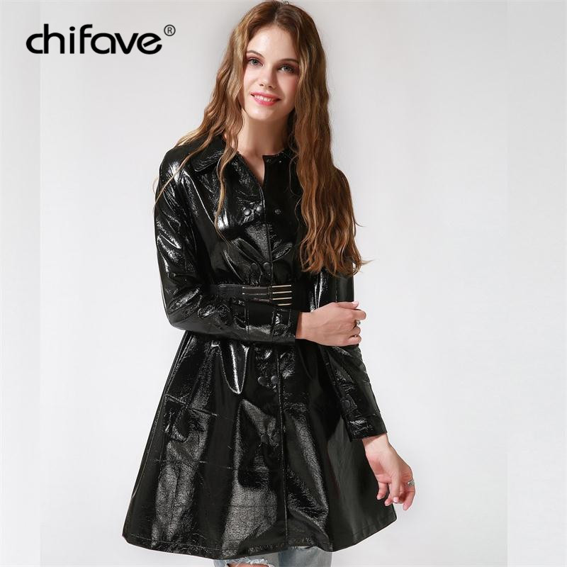 2018 Elegent PU Leather   Trench   Coat Autumn Black Sexy Long Coats Windbreakers Female Casual Plus Size Outerwear chifave