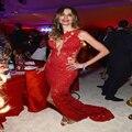 2015 Fantástico Luciana Gimenez Vestido de Fiesta Personalizar Cordón de La Sirena Barrer de Tren Sin Respaldo Celebrity Vestido de Noche