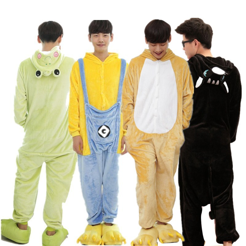 Funny Flannel Cartoon Kigurumi For Men Bear Minions Panda Shark Animal Onesies Adult Jumpsuit Pyjamas Cat Cosplay Party Costume