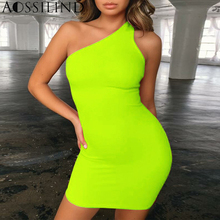 AOSSILIND Sexy Green One Shoulder Sleeveless Mini Bodycon Dress 2019 Summer Women Backless Hollow Out Skinny Party Club Dresses