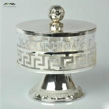 Jauns elegants sudraba metāla akrila sāls / cukurs / tēja / kafijas trauki Eiropas stila augstas kvalitātes galda piederumi galda piederumu komplekti Jar 007