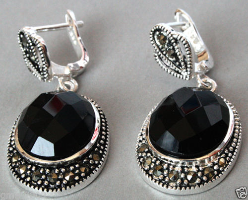 27bb021de FREE SHIPPING>>> Vintage 925 Sterling Silver Natural Faceted Black stone  Onyx Marcasite Earrings
