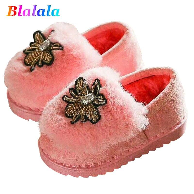 Spring Winter cotton velvet fake fur cartoon bee embroidery patch girls dough kid flat shoes children winter boots for girls