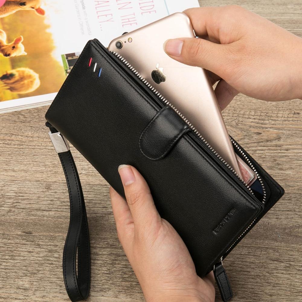 BISON DENIM äkta läder manliga plånbok långa kopplings dragkedja - Plånböcker - Foto 3