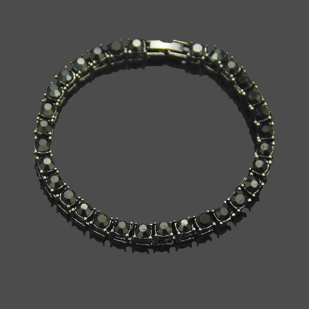 1 שורה בלינג אייס מתוך Mens זירקון טניס שרשרת צמיד נשים גברים CZ קישור שרשרת היפ הופ תכשיטי זהב כסף שחור צבע