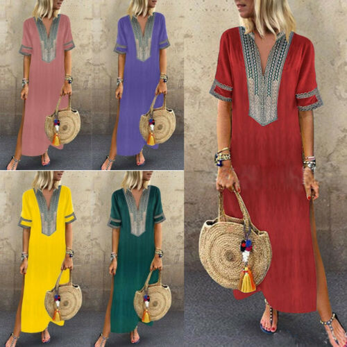 Plus Size Stylish Hot Sale Women's Print Linen Half-sleeve V-neck Slit Loose Long Dress Split Hem Baggy Kaftan Long Dress S-5XL