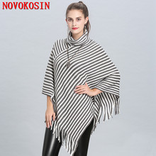 2018 Winter Warm Knitted Tassel Plus Size Loose Poncho Women High Neck White With Black Striped Pullover цена