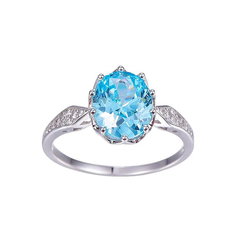 BONLAVIE ze srebra próby 925 biżuteria 4ct serce oceanu Topaz klejnot niebieski kamień pierścionki moda akcesoria hurtownie dla kobiet
