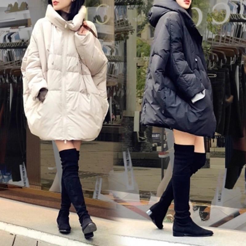 2018 Новый осень-зима женские длинный пуховик свободные большие размеры Длинные с капюшоном утка вниз толстые парки женские Верхняя одежда LF995