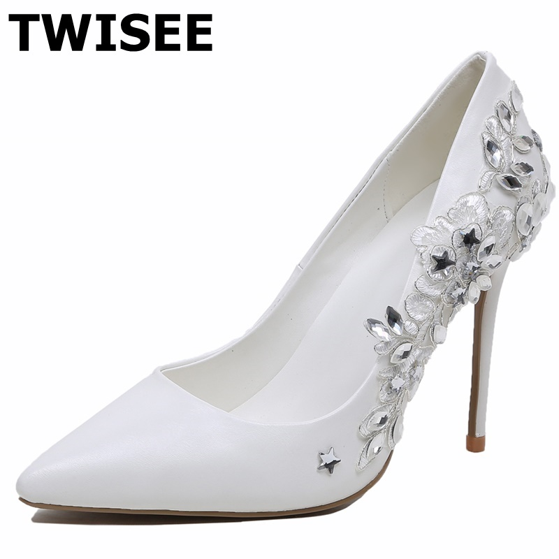 TWISEE Pumps Wedding summer shoes pu lengther pointed toe high-heeled shoes thin heels sexy women's high-heeled pumps Flower