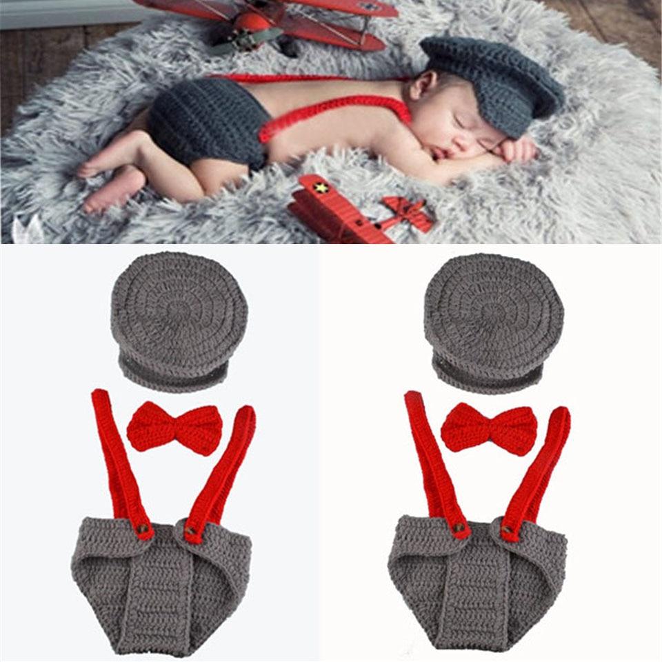 Crochet Baby Boy Gentleman Hat Bow Tie Pants Set Knitted Baby Hat ...
