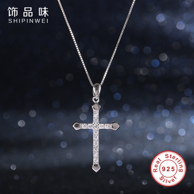 New Fashion 925 Sterling Silver Necklace Crystal Cross Necklaces & Pendants for Women Men Mujer Jewelry Accessories