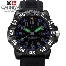 Carnaval trítio luminosa à prova d' água 200 m mergulho militar esportes relógio de quartzo homens de aço completa luxo marca relógios moda casual