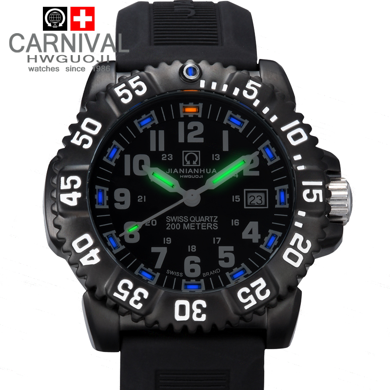Carnival tritium luminous waterproof 200m military diving sports quartz watch full steel luxury brand men watches fashion casual 2016 biden brand watches men quartz business fashion casual watch full steel date 30m waterproof wristwatches sports military wa