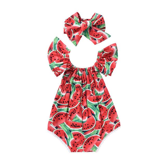 Newborn Baby Girls Clothes Watermelon print short sleeve round neck Bodysuit Bowknot Headband 2pc cotton casual summer set