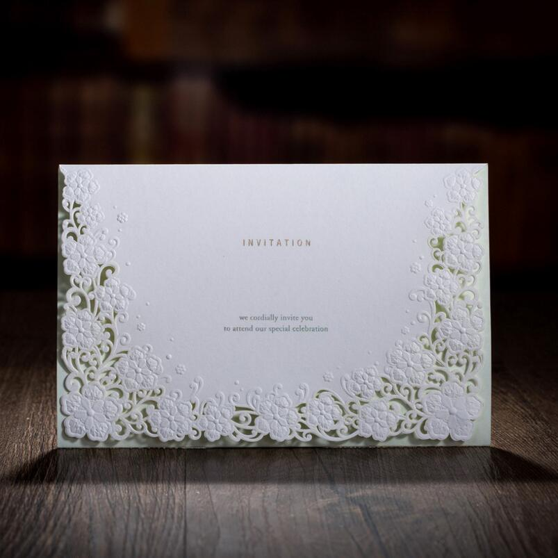 50pcs/pack New White Hollow Flower European Style Wedding Invitations Party Decoration Card Businesss Birthday Invitation 1 design laser cut white elegant pattern west cowboy style vintage wedding invitations card kit blank paper printing invitation