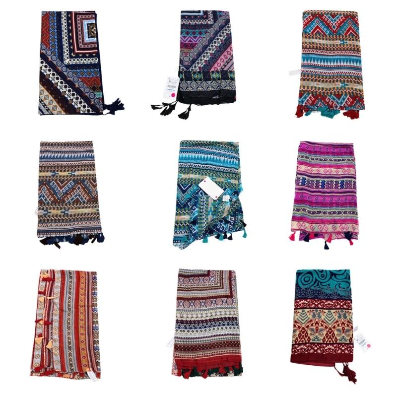 1 Pc Womens Ethic Geometric Large Scarf Tassel Shawl Bohemia Hijab Pashmina Elegant High Quality Cotton Blend Women Scarf