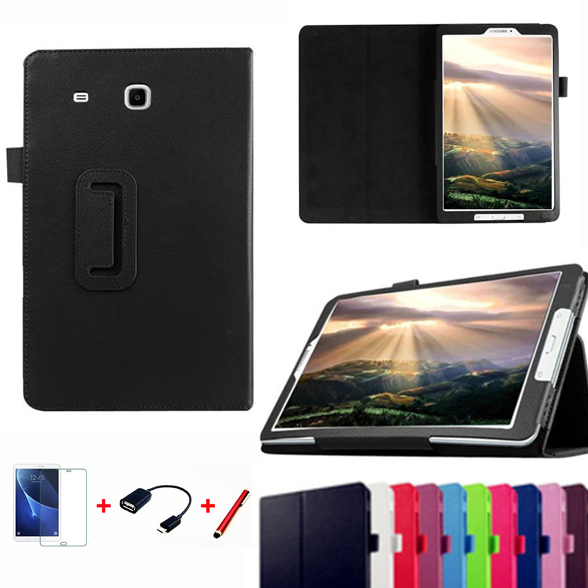 Case for Samsung Galaxy Tab E 9.6 T560 T561 Slim Folding Flip Stand Cover PU Leather Cases for Samsung Tab E T560+Film+Pen+otg