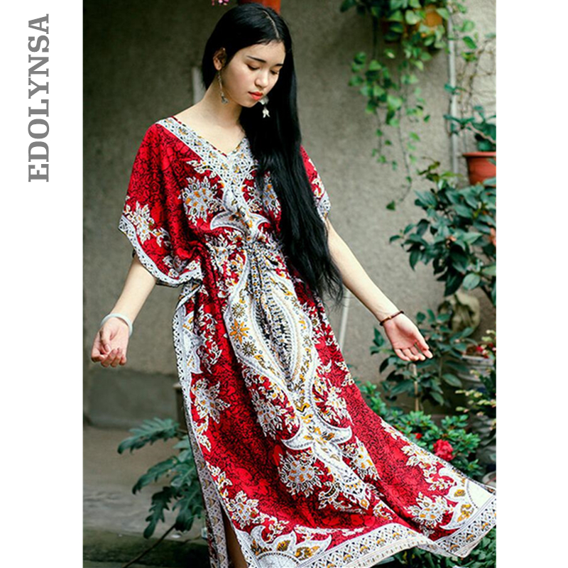 f45c123c56e33 2019 Beach Dress Kaftan Ethnic Rayon Maxi Dress Women Vintage Tuni...