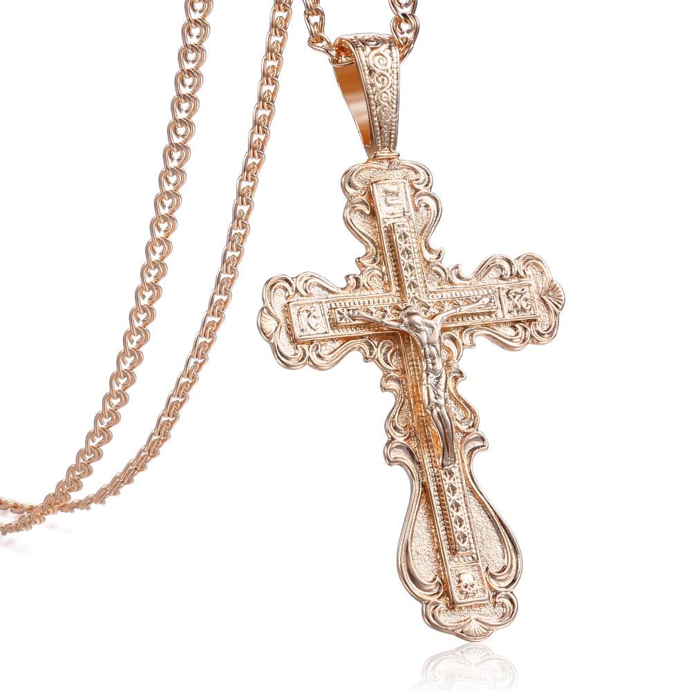 23d915ff3550 Collar con colgante Davieslee para mujer 585 Rosa oro moda mujer Cruz cadena  collar 2019