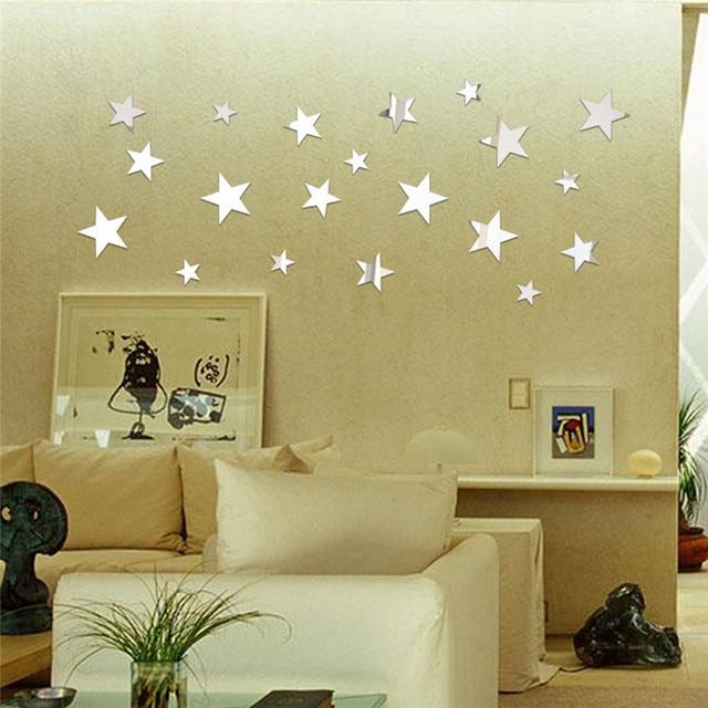 20 Pcs Mirror Wall Stickers For Bathroom Decoration Star Self