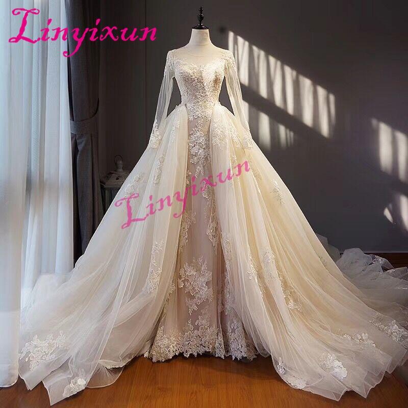 Linyixun Charming 2 In 1 Design Sheath Wedding Dress 2018 Tull Lace Applique Scoop Neck Wedding Gown Vestido De Noiva Custom