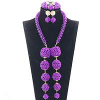 Colorful Ball African Wedding Beads Necklace Set Nigerian Women Costume Jewellery Set Bridal Bead Party Jewelry Gift JB037