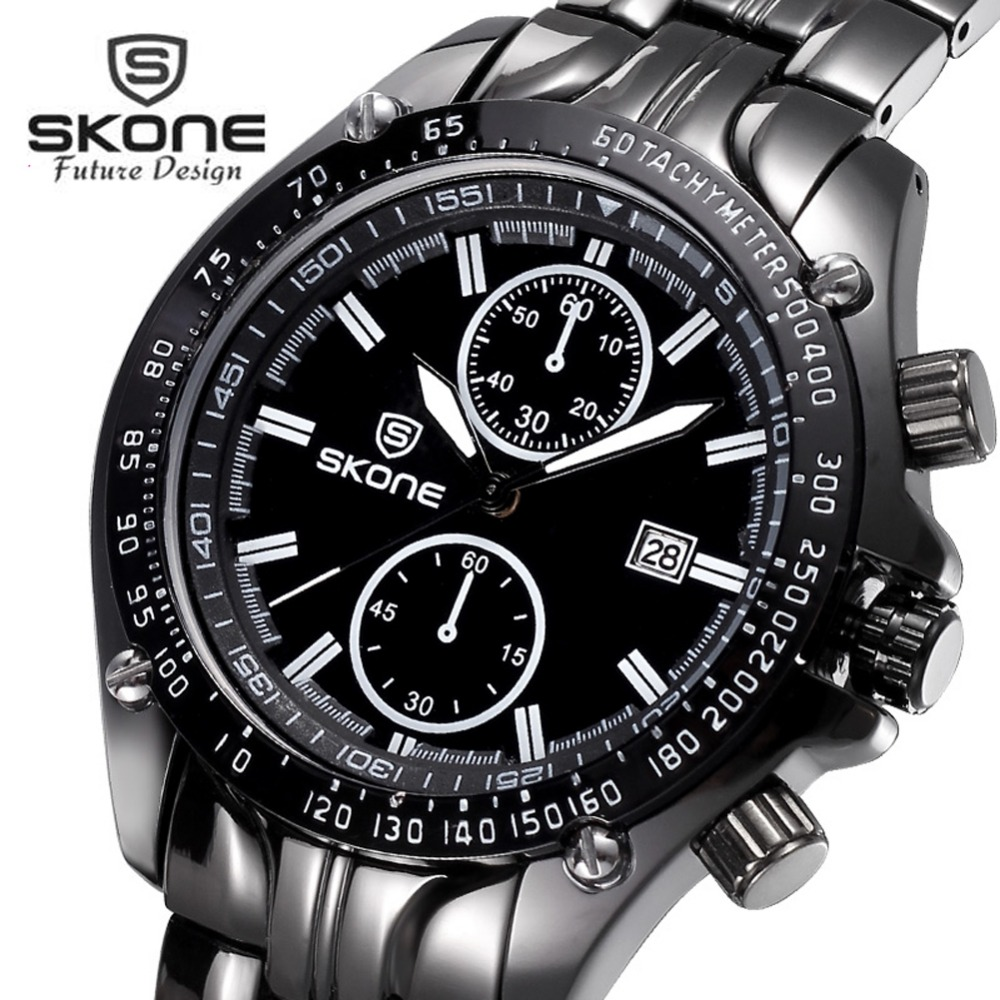 SKONE Fashion Calendar Watch Men Top Brand Luxury Mens Quartz Watch Famous Watches Casual Clock Relogio Masculino Hodinky XFCS skone relogio 9385