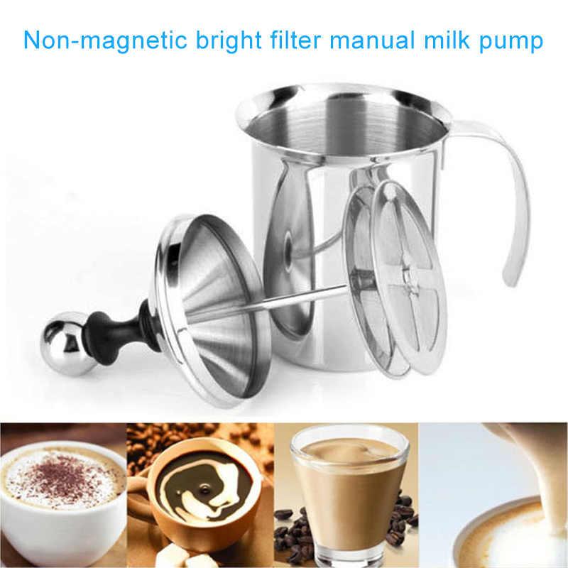 Gorąca podwójna siatka spieniacz do mleka ze stali nierdzewnej spieniacz do mleka pompa ręczna do Cappuccino 400cc/800cc XJS789