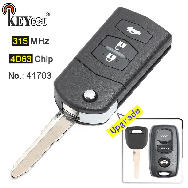 Keyecu Upgraded Flip Remote Car Key Fob 3 Button 433MHz 4D63 for Mazda MX5 MK2.5 2000-2005 Visteon Model NO.41703