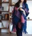 2016 estilo Japonês Coreano outono e inverno lenço longo xadrez grande xale de lã de malha