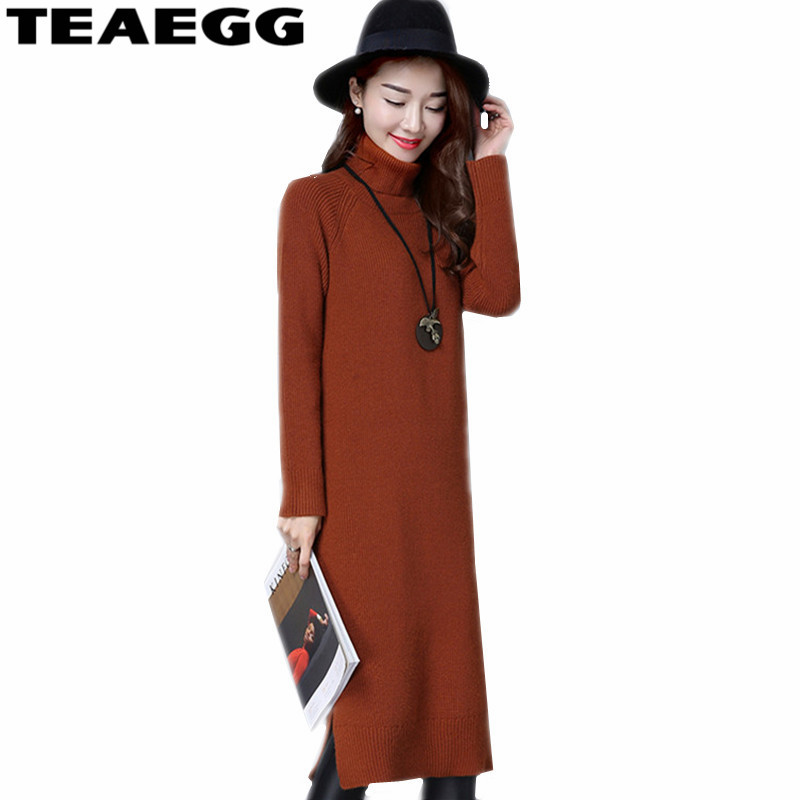 TEAEGG Robe Femme Khaki Dress Women Clothing Autumn Winter Sweater Elasticity Long Sleeve Knitted Dress Vestidos MujerAL475 2016 women s clothing fashion in europe and the atmosphere bohemia elasticity knitted cultivate one s morality dress