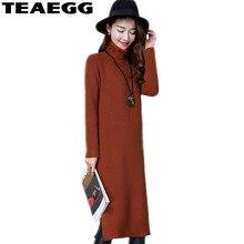 TEAEGG Robe Femme Kaki Robe Femmes Vêtements Automne Hiver Chandail Élasticité À Manches Longues Tricoté Robe Robes MujerAL475