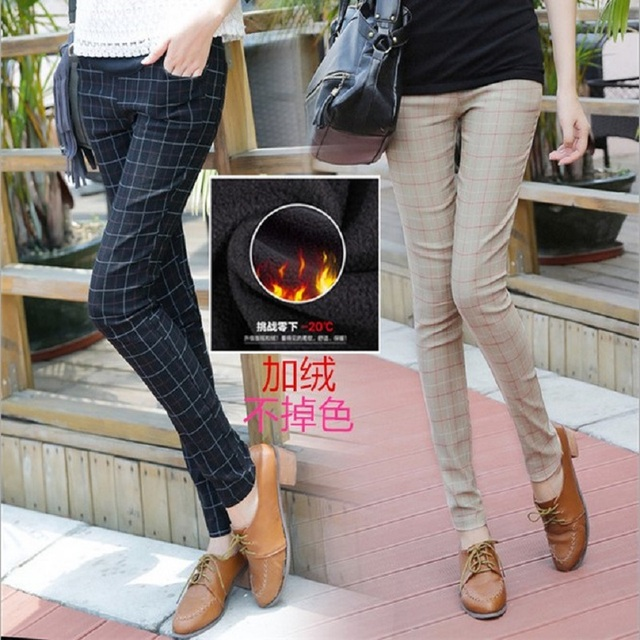 Ropa Embarazada Hot Sale 2016 Winter Casual Maternity Pants Pregnant Women With Thick Plaid Stomach Lift Trousers Pencil Pant