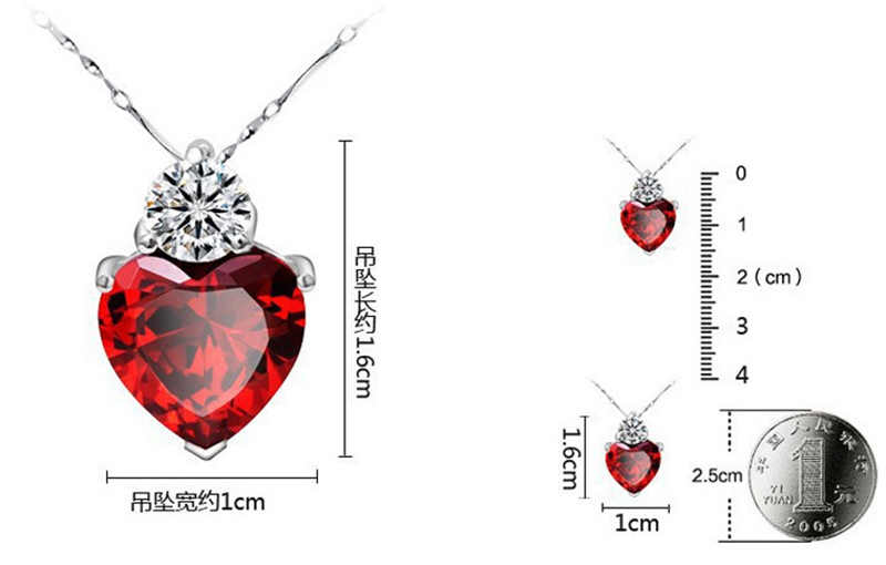 2018 New Designers Sweet love Jewelry Set For Wedding Red Crystal Necklace Pendant Earrings Collections for Anniversary