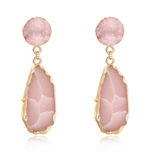 New Design Boho Irregular Drop Dangle Earrings Cute Girl Large For Woman Jewelry Gold Color Stone Big 2019