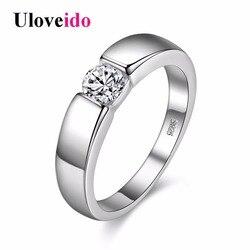 Uloveido Gümüş Erkek Yüzük Düğün Band Eagagement Yüzükler Kadınlar için Bague Homme Anelli Ringen Toptan Dropshipping 40% kapalı J002