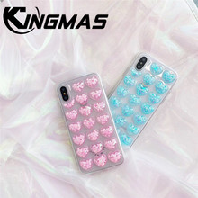 KINGMAS for iphone 6 6S 7 8 PLUS X XS XR MAX phone silicone case soft thermopolyurethane transparent Liquid case  back cover