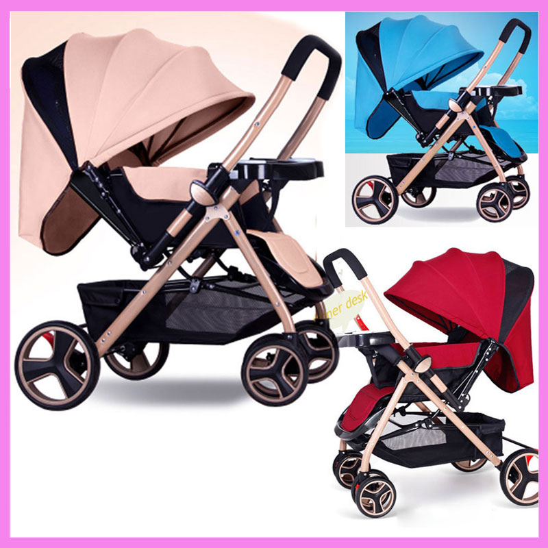 Newborn Reverse Handle High Landscape Portable Folding Baby Stroller Lightweight Pram Car Travel Pushchair Buggy Dinner Plate summer high landscape steel light baby stroller four wheels lightweight travel portable umbrella baby cart pram buggy pushchair