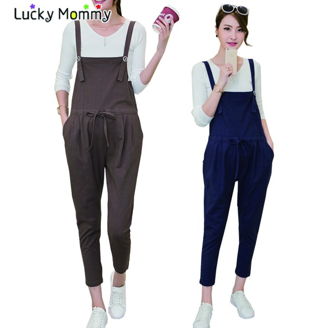 M-XXL Plus Size Cotton Linen Maternity Pants Overalls for Pregnant Women Fall Pregnancy Clothes Loose Casual Maternity Jumpsuit